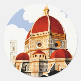 Sticker Rond Affiche 1930 de voyage de Duomo de Florence Italie