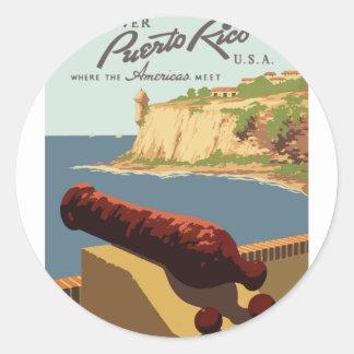 Sticker Rond Affiche vintage Porto Rico de voyage