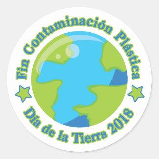 Sticker Rond Aileron Contaminación Plástica de Día de la Tierra