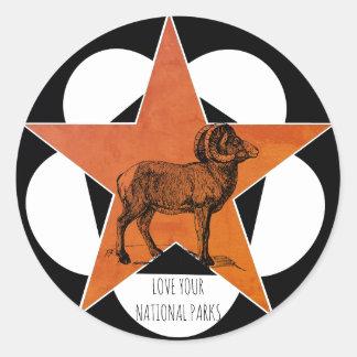 Sticker Rond Aimez vos moutons de Big Horn de parcs nationaux