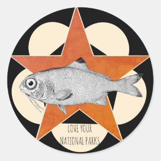 Sticker Rond Aimez vos poissons de montagne de parcs nationaux