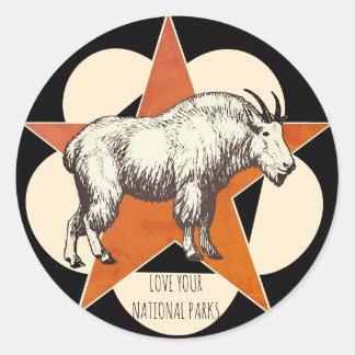 Sticker Rond Aimez votre chèvre de montagne de parcs nationaux