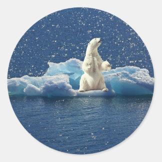 Sticker Rond Ajoutez le SLOGAN pour sauver la glace arctique de