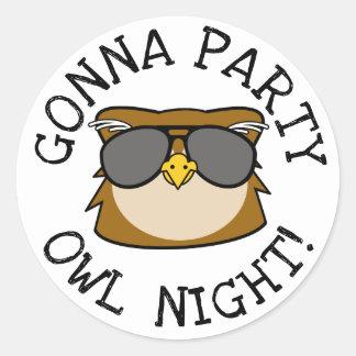 Sticker Rond Aller Party la nuit de hibou