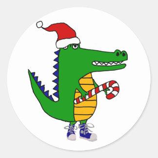 Sticker Rond Alligator mignon dans la bande dessinée de Noël de