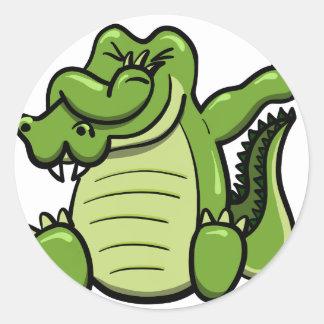 Sticker Rond Alligator tamponnant d'animaux