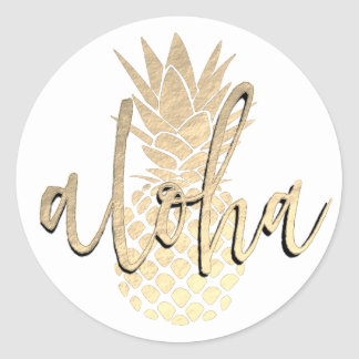 Sticker Rond aloha ananas d'or