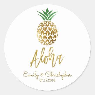 Sticker Rond Aloha ananas hawaïen tropical épousant le blanc