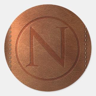 Sticker Rond alphabet cuir lettre N
