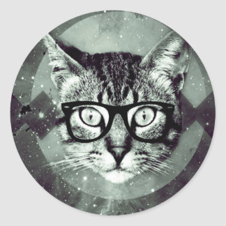 Sticker Rond Amants d'animal de compagnie de chat de hippie