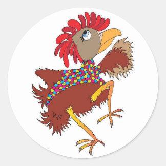 Sticker Rond Amants de poulet