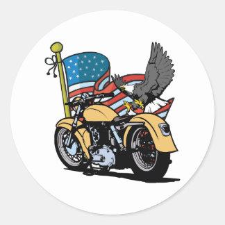 Sticker Rond Américain Eagle de cycliste