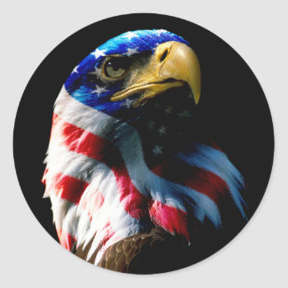 Sticker Rond Américain patriote Eagle