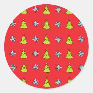 Sticker Rond Amis mignons de Noël