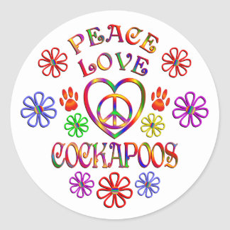 Sticker Rond Amour Cockapoos de paix
