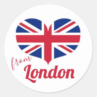 Sticker Rond Amour de drapeau BRITANNIQUE en forme de coeur