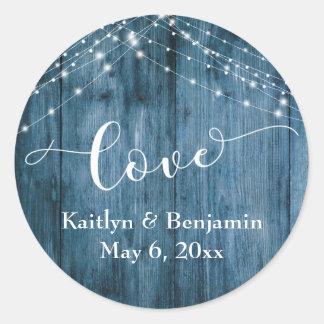 Sticker Rond Amour de ficelles en bois bleu rustique et de