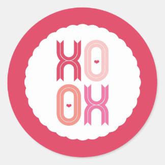 Sticker Rond Amour de XOXO et partie de Valentine de baisers