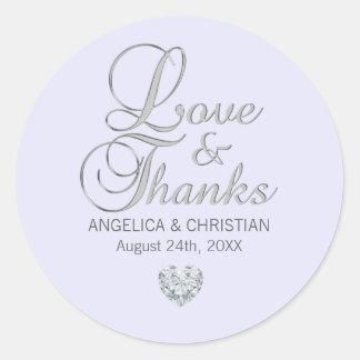 Sticker Rond Amour et mercis faits sur commande de mariage de