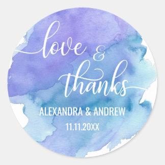 Sticker Rond Amour et mercis pourpres bleus de mariage