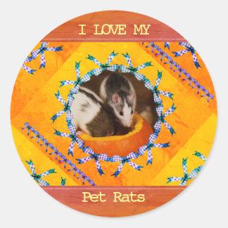 Sticker Rond Amour fait sur commande de la photo I de rat mes