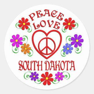 Sticker Rond Amour le Dakota du Sud de paix