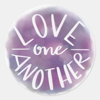 Sticker Rond Amour Main-En lettres un un autre de Bokeh