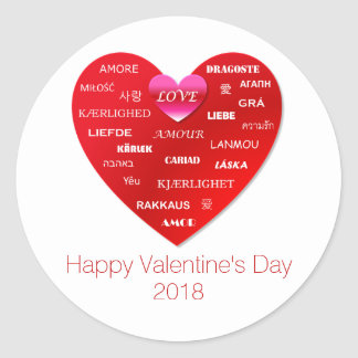 Sticker Rond Amour rouge de heureuse Sainte-Valentin dans