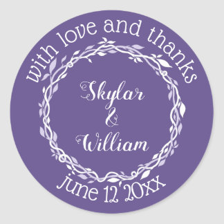 Sticker Rond Amour simple et mercis de mariage ultra-violet