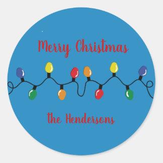 Sticker Rond Ampoules de lumière de Noël grandes