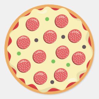 Sticker Rond Amusement de partie d'autocollant de pizza de
