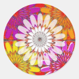 Sticker Rond AMUSEMENT lumineux BLANC de mandala de yoga de