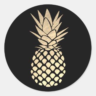 Sticker Rond ananas d'or sur le noir