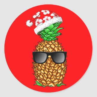Sticker Rond Ananas du père noël