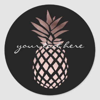 Sticker Rond ananas tropical d'or rose clair élégant de faux
