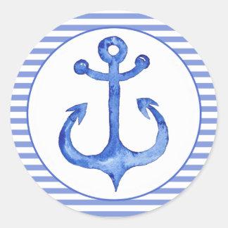 Sticker Rond Ancre nautique - bleu marine barré