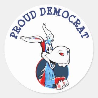 Sticker Rond Âne fier de parti politique de Démocrate