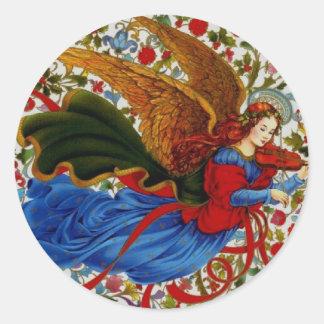 Sticker Rond Ange musicien