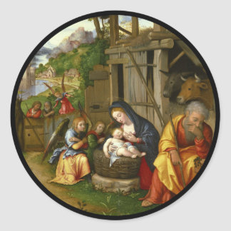 Sticker Rond Anges c1515 de nativité et d'enfant