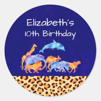 Sticker Rond Animaux sauvages avec un anniversaire de frontière