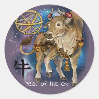 Sticker Rond Année chinoise de zodiaque du boeuf
