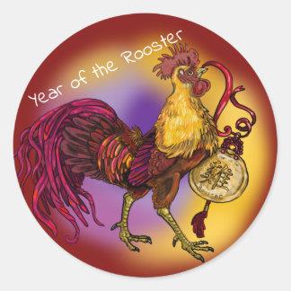 Sticker Rond Année chinoise de zodiaque du coq