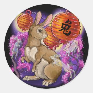 Sticker Rond Année chinoise de zodiaque du lapin