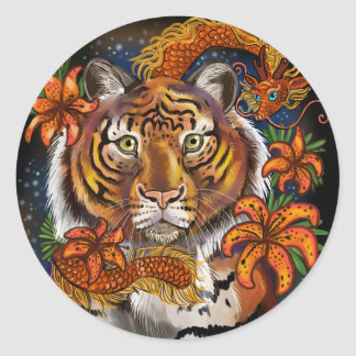 Sticker Rond Année chinoise du tigre