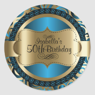 Sticker Rond Anniversaire d'abrégé sur remous de bleu et d'or