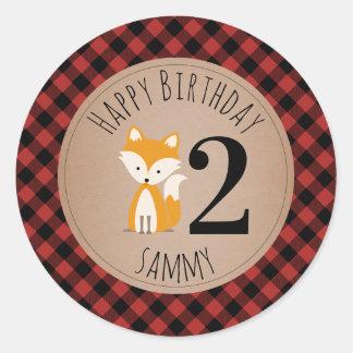 Sticker Rond Anniversaire de bébé de plaid de bûcheron de Fox
