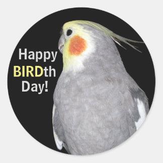 Sticker Rond Anniversaire de jour de BIRDth de photo de