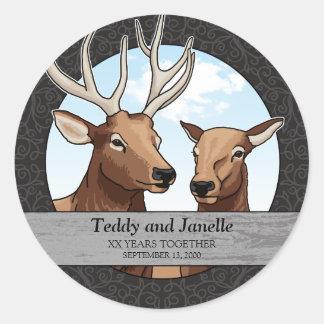 Sticker Rond Anniversaire de mariage personnalisé, paire