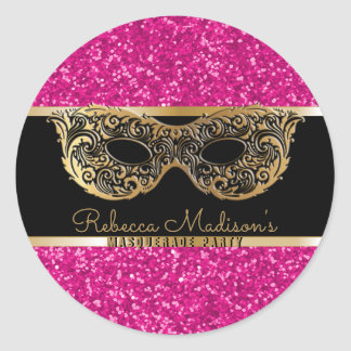 Sticker Rond Anniversaire de parties scintillantes de rose d'or
