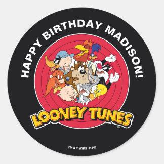 Sticker Rond Anniversaire Looney du groupe | de caractère